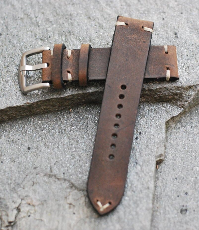 vintage håndlaget klokkereim i skinn